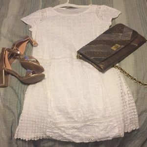Zara embroidered white short shift dress